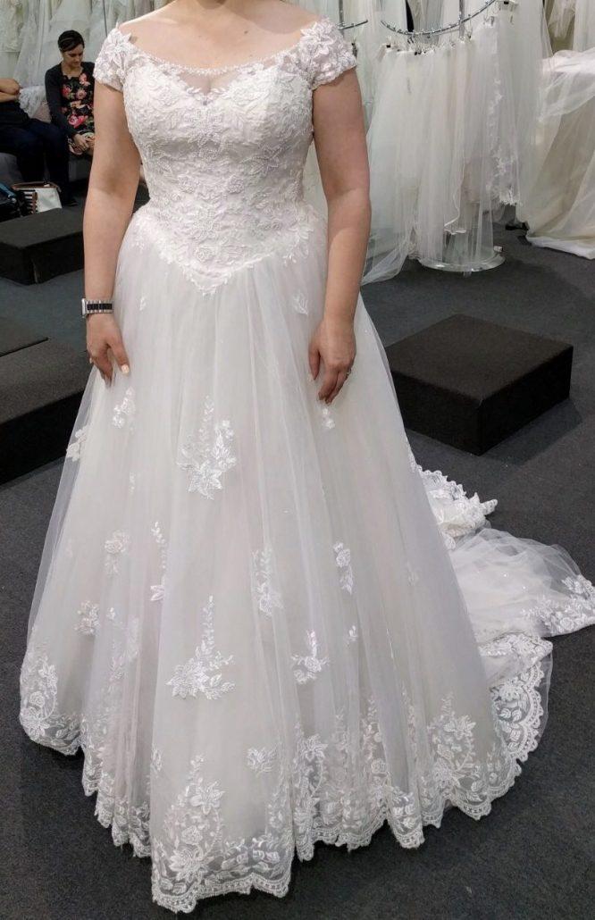 ivory off the shoulder wedding dress | sell my wedding dress