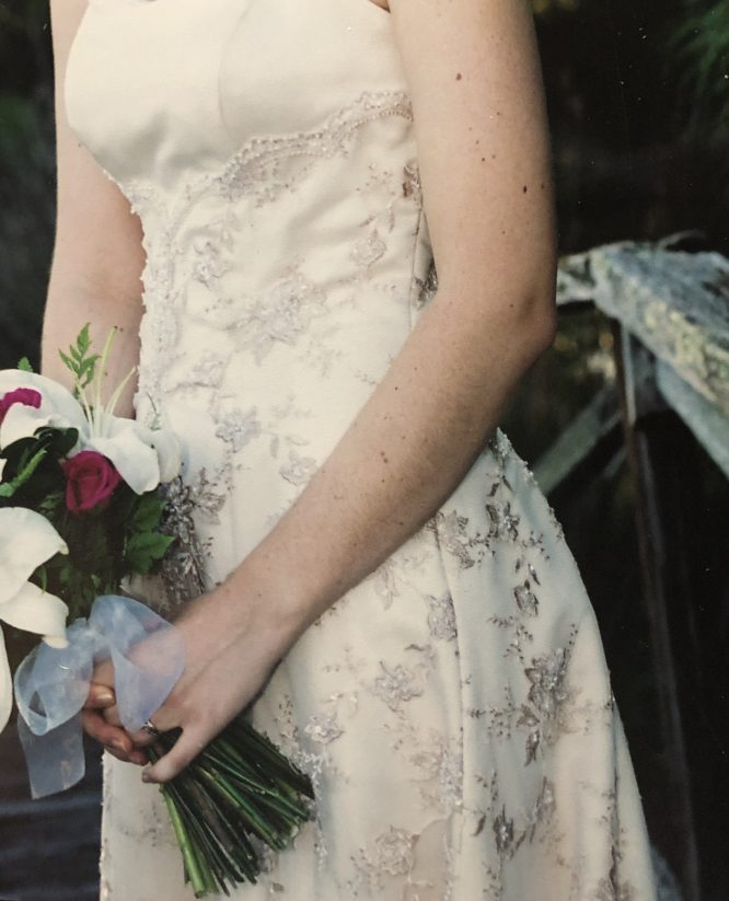 pre-loved ivory and gold wedding dress