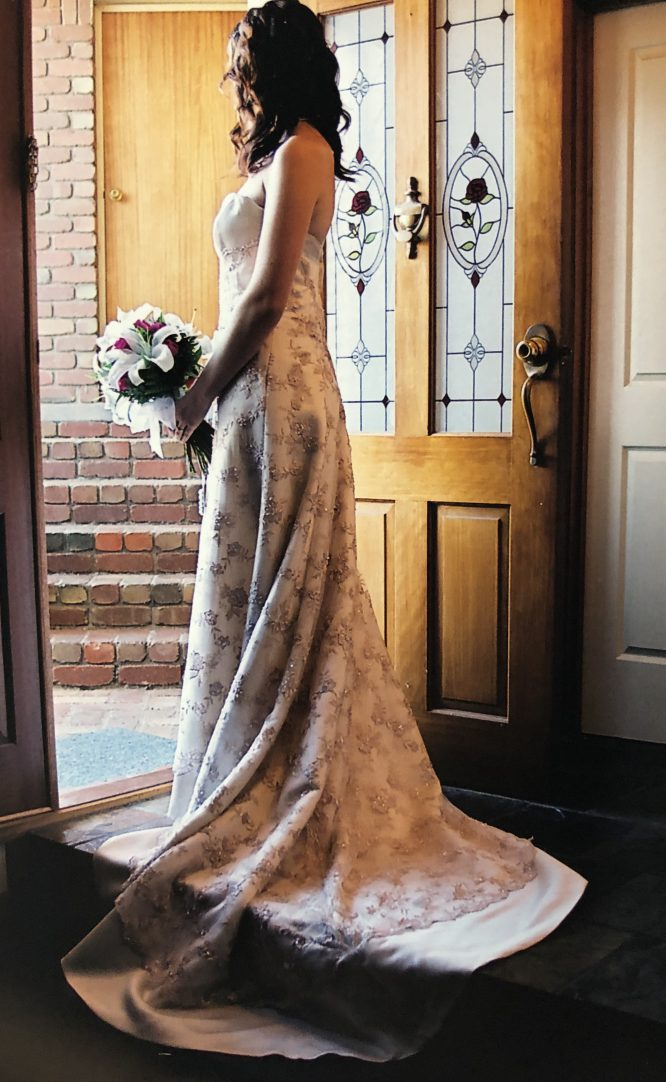strapless ivory and gold wedding dress