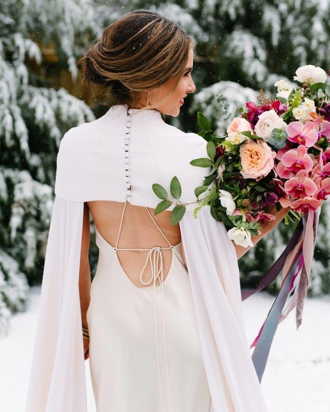 wedding dress cape | winter wedding ideas