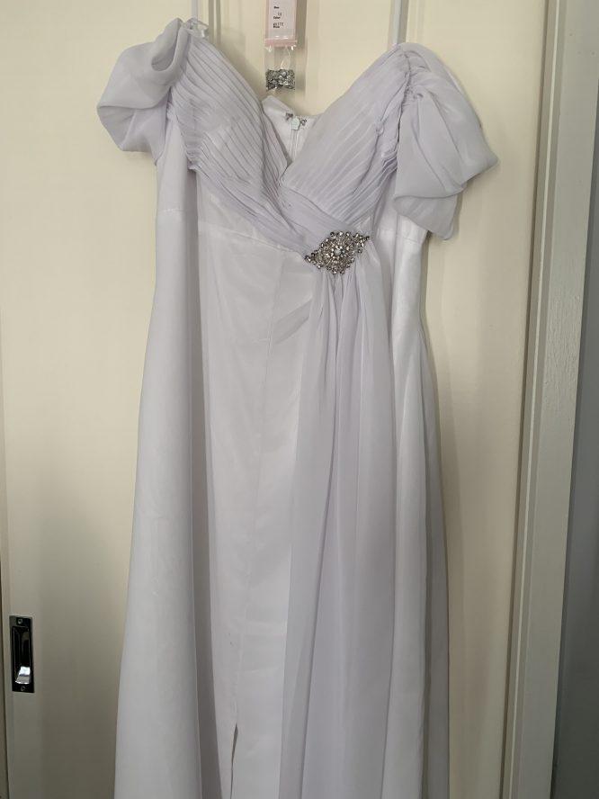 size 16 imoda greecian wedding dress | secondhand wedding dress