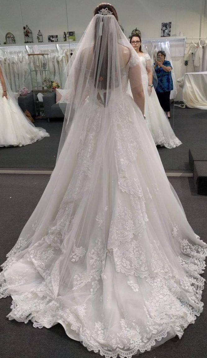 size 12 off the shoulder wedding dress | secondhand wedding dress