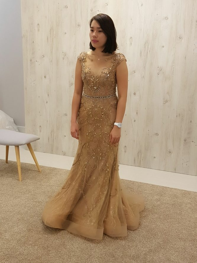 gold tulle wedding dress | custom wedding dress australia