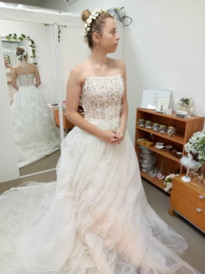 Tulle two-piece wedding dress gold coast | wedding dress for hire