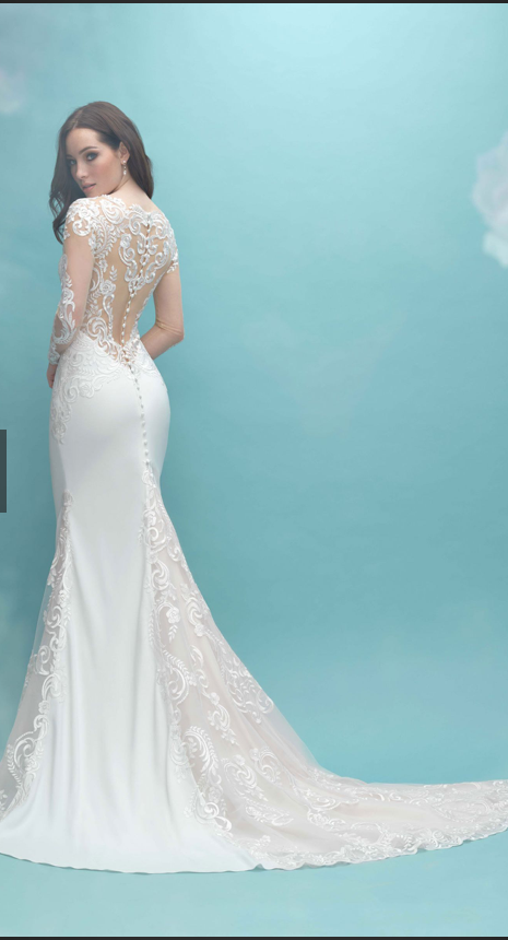 long sleeved allure bridal wedding dress | secondhand wedding dress