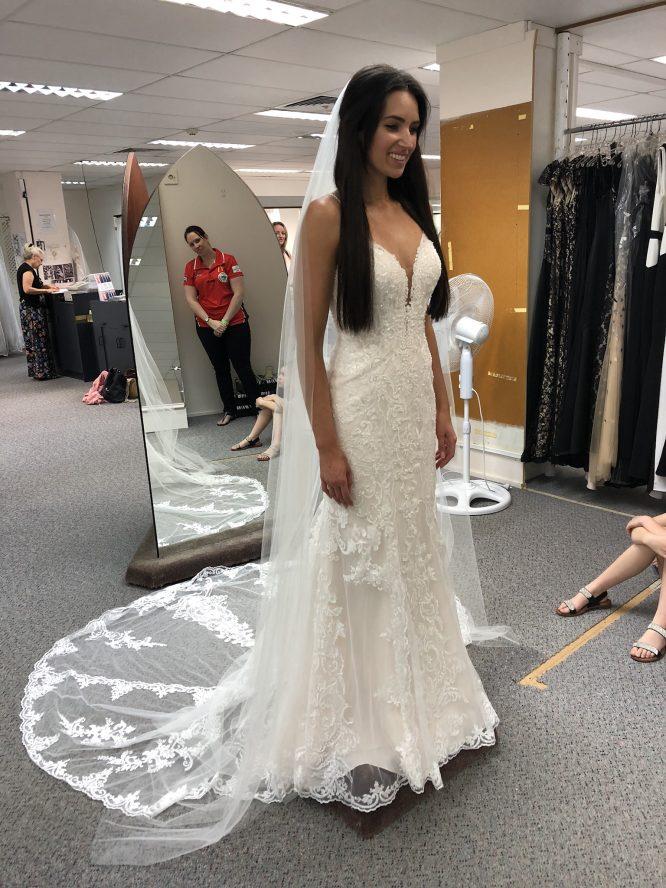 fit and flare stella york wedding dress | preloved wedding dress